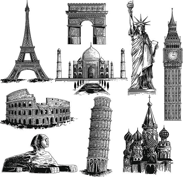 Famous landmarks Most famous landmarks. eiffel tower stock illustrations