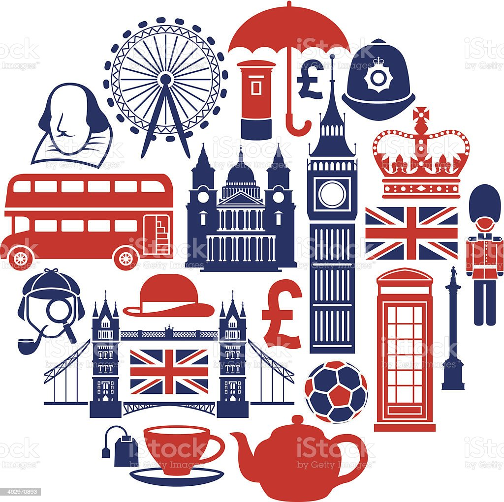 Famous London icons vector art illustration