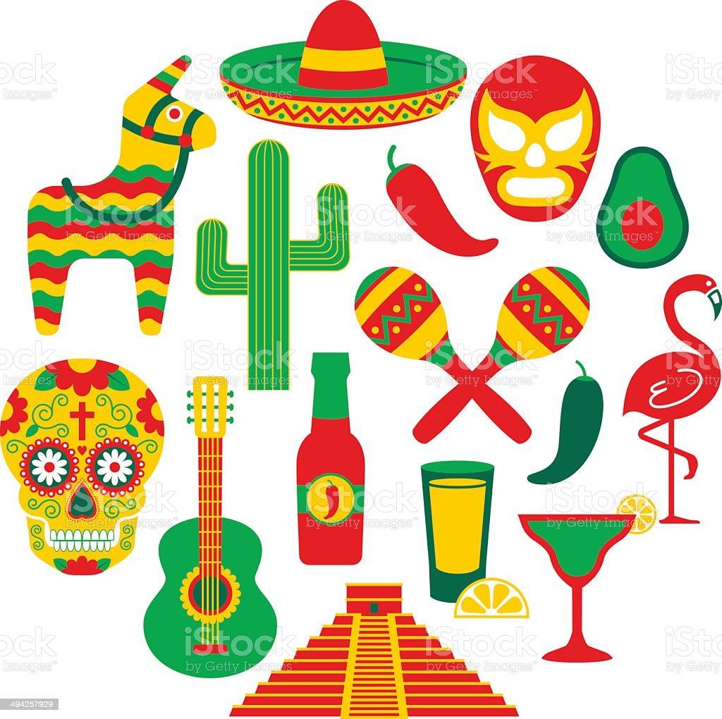 Famoso iconos mexicana - ilustración de arte vectorial