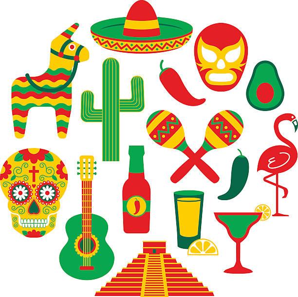 Famous Mexican icons Famous Mexican icons.  mexican ethnicity stock illustrations