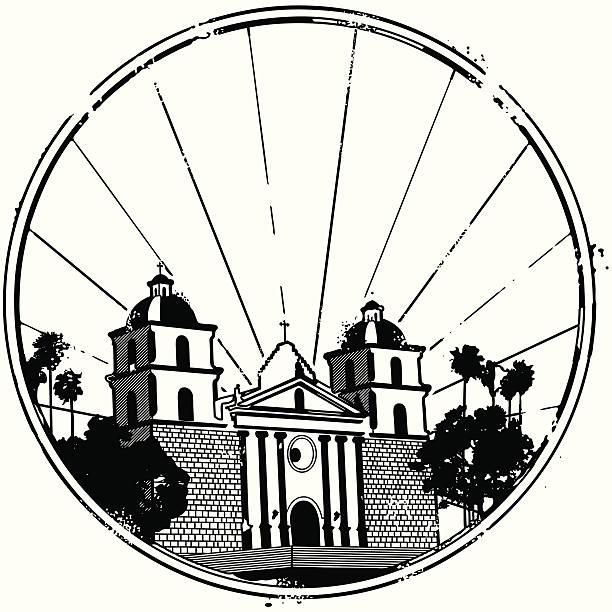 Famous Mission of Santa Barbara Stylized landmark stamp of the Mission of Santa Barbara mission church stock illustrations