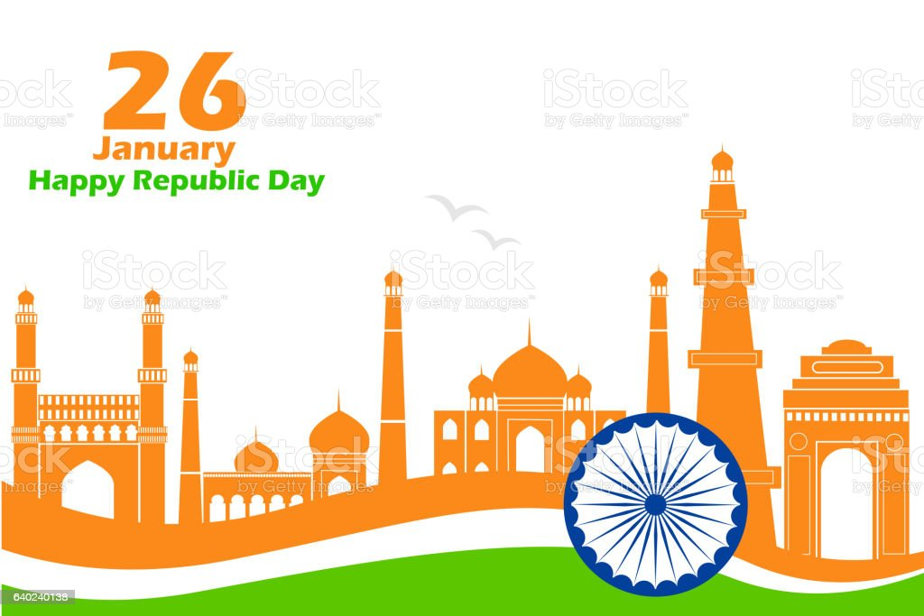 Famous monument in Indian background for Happy Republic Day vector art illustration