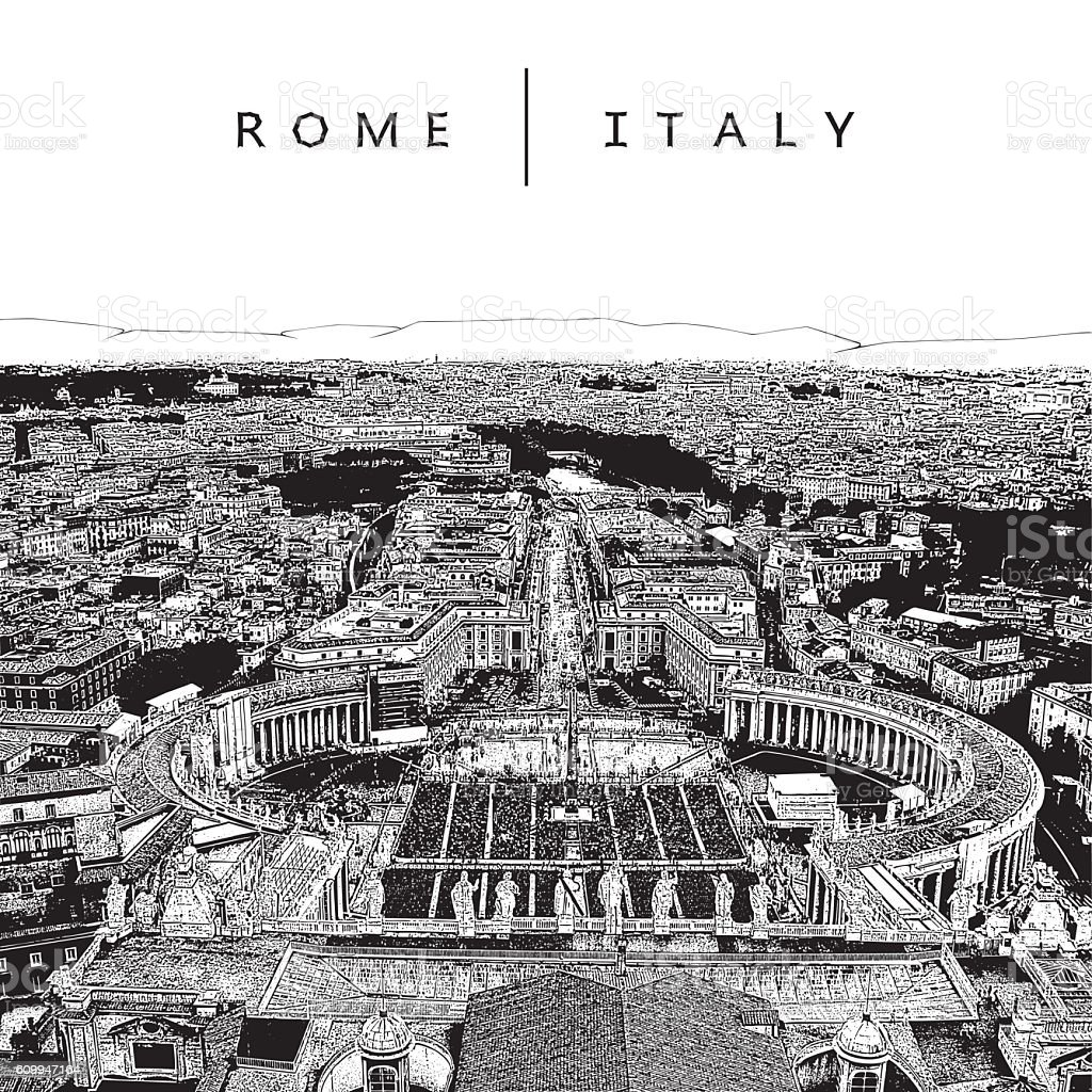 Famous panoramic view of Rome, Italy. vector art illustration