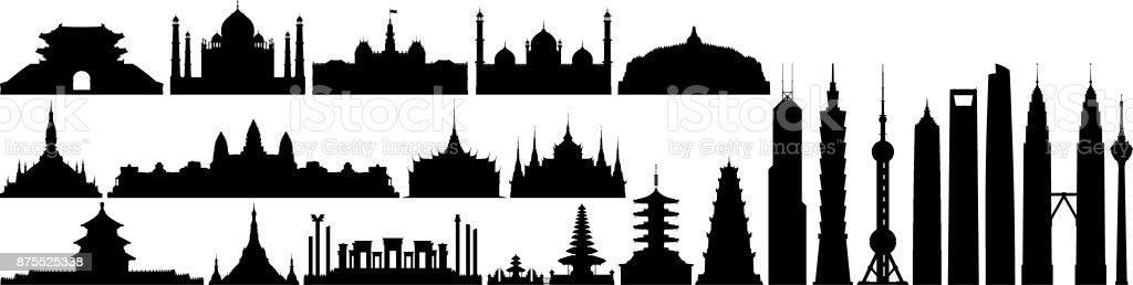 Famous Places in Asia vector art illustration