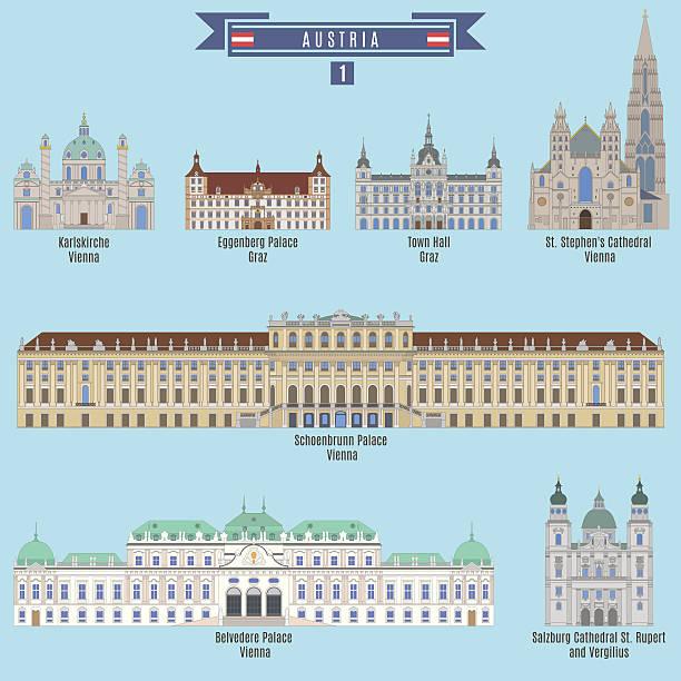 bildbanksillustrationer, clip art samt tecknat material och ikoner med famous places in austria - salzburg