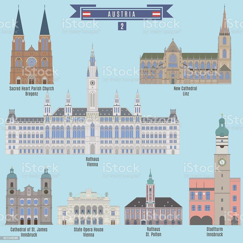 Famous Places in Austria vector art illustration