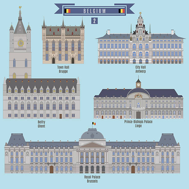 Famous Places in Belgium Famous Places in Belgium: Town Hall - Brugge, City Hall - Antwerp, Belfry - Ghent, Prince-Bishops Palace - Liege, Royal Palace - Brussels lulik stock illustrations