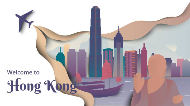 famous places in hong kong, purple and green tones, paper cutting style - river paper stock illustrations, clip art, cartoons, & icons