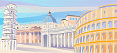 Famous Places in Italy Vector Illustration