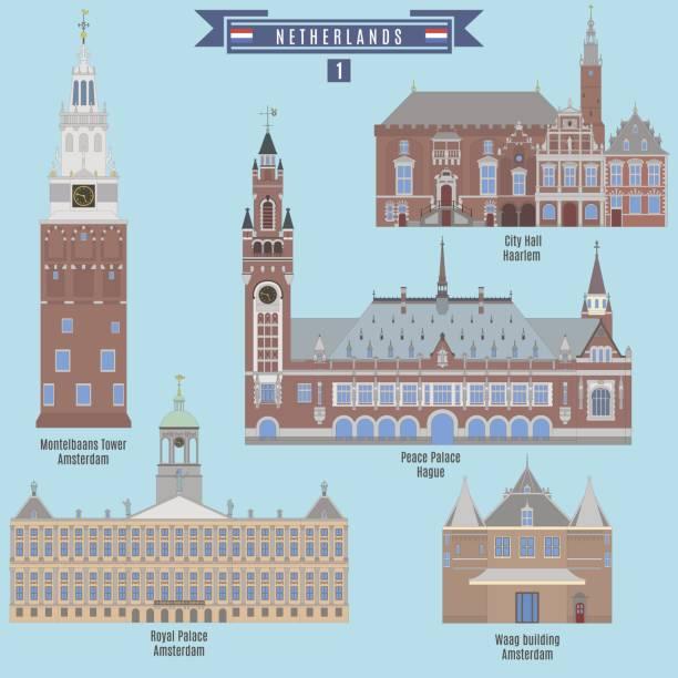 stockillustraties, clipart, cartoons en iconen met bekende plaatsen in nederland - den haag