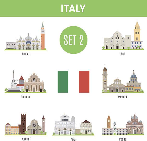berühmte plätze italiens städten. set 2 - padua stock-grafiken, -clipart, -cartoons und -symbole