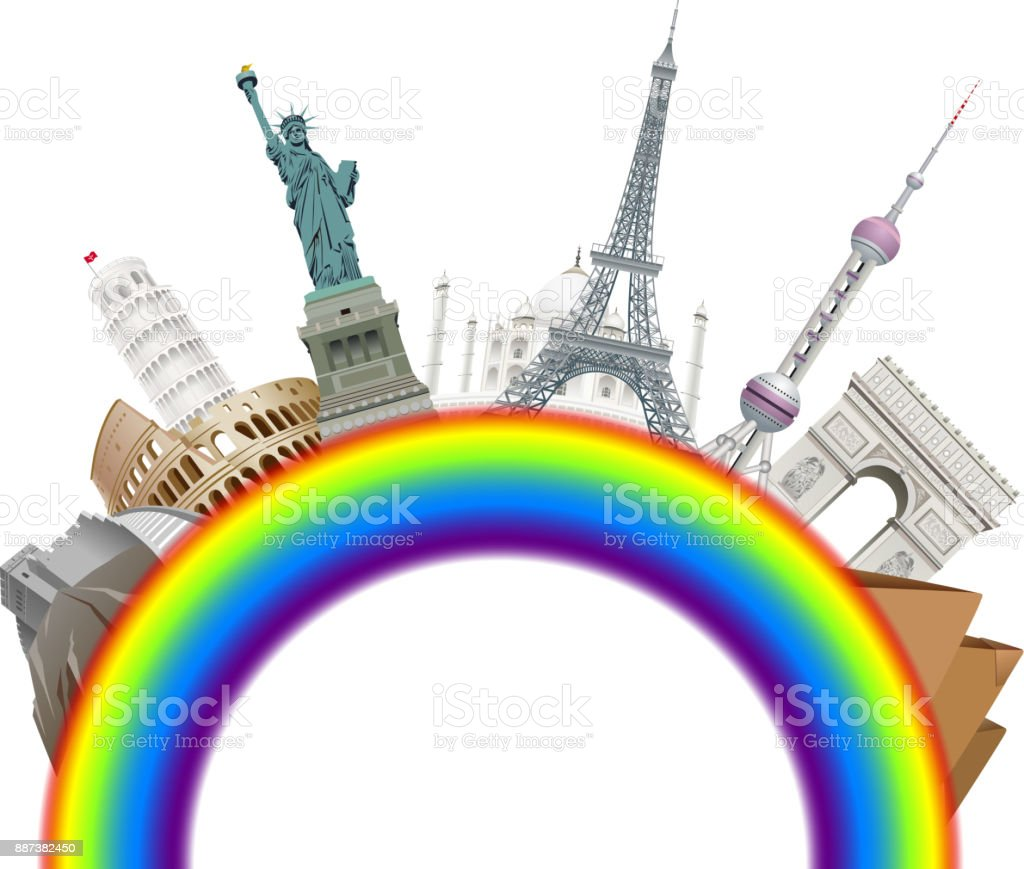 Famous places on rainbow vector art illustration