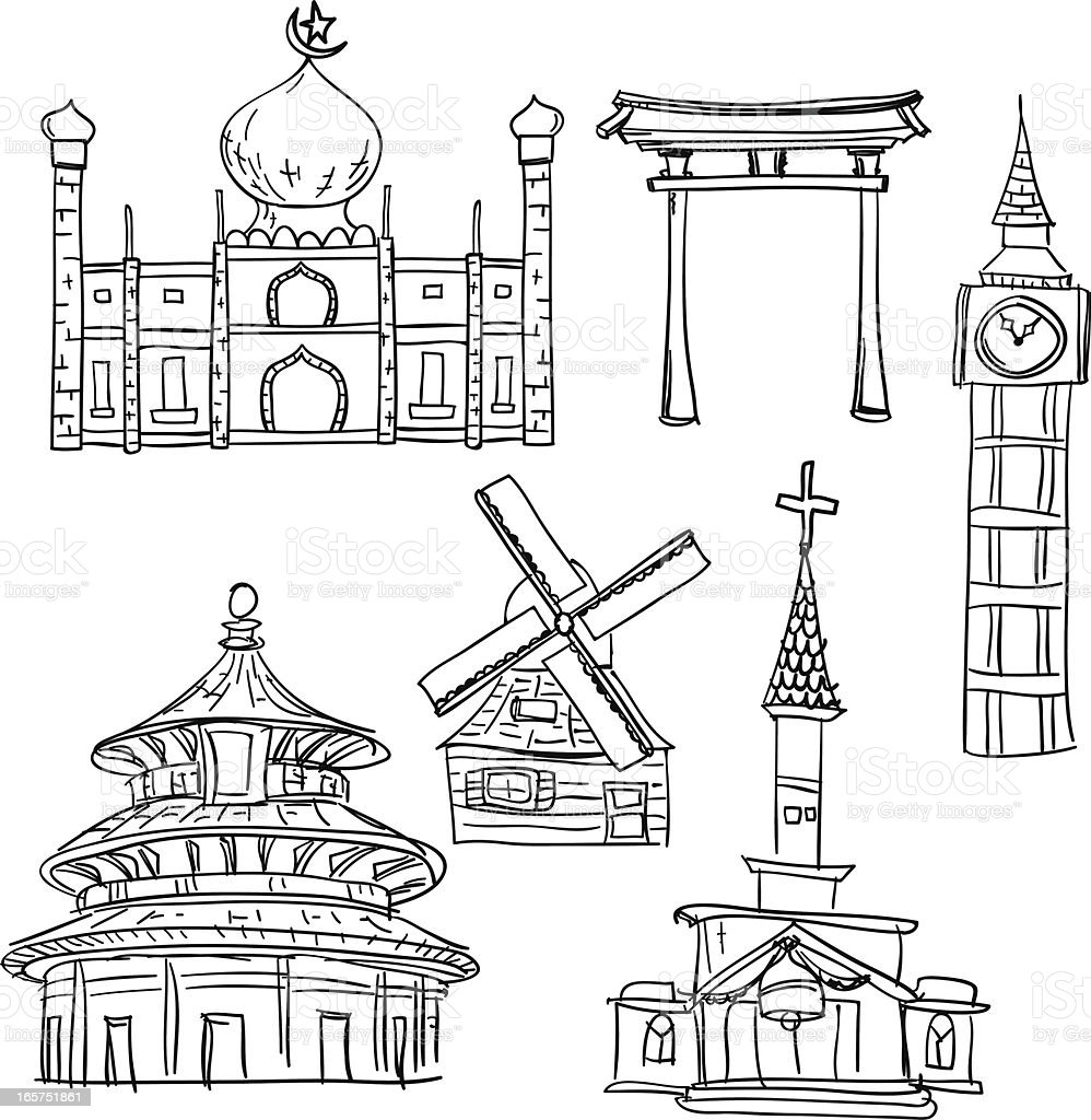 Famous scenic spots collection in sketch style vector art illustration