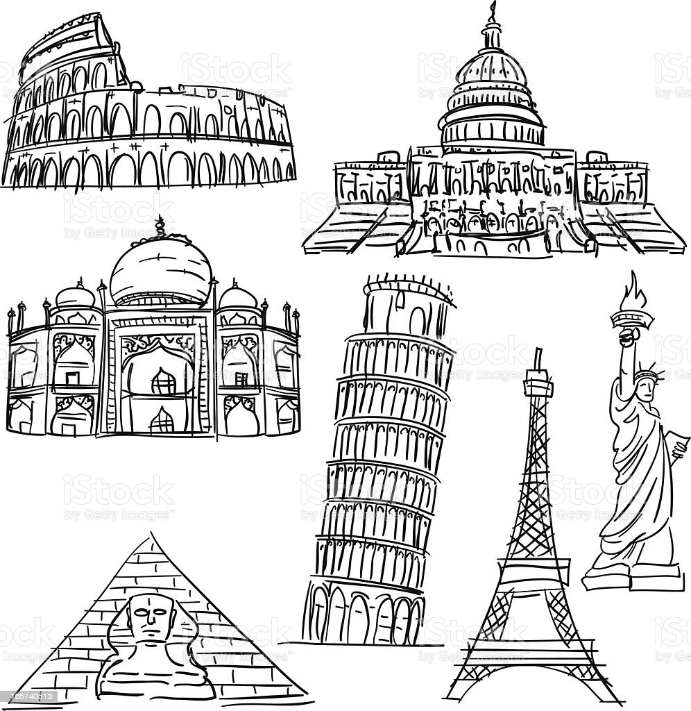 Famous scenic spots collection vector art illustration