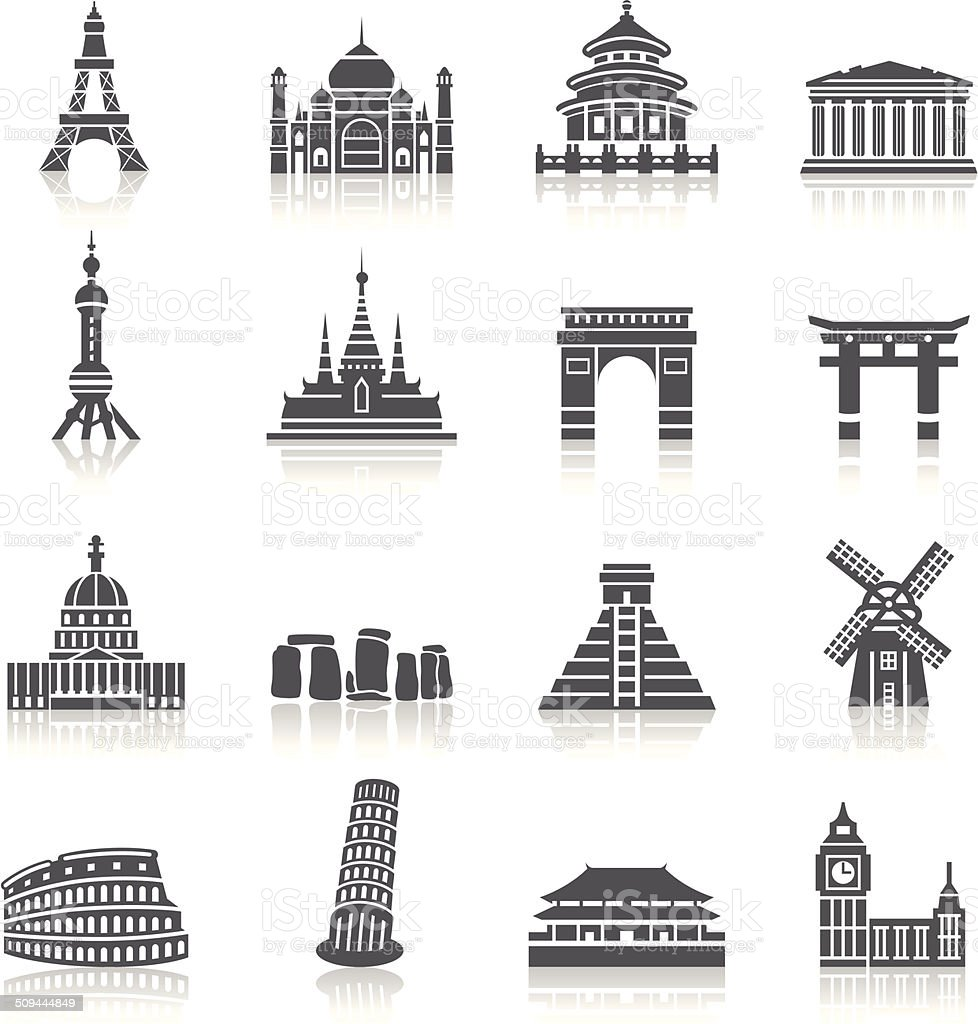 Famous Scenic Spots Icons vector art illustration