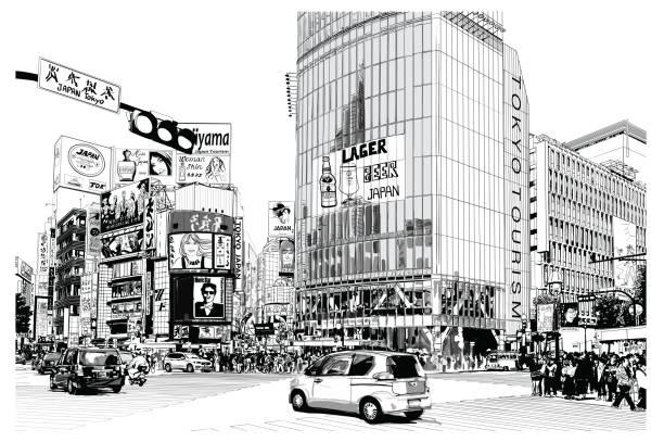 東京、有名な渋谷の交差点 - 東京点のイラスト素材/クリップアート素材/マンガ素材/アイコン素材