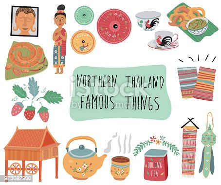 Thailand travel element with famous things in northern  region, doodle flat style, illustration, vector, white background