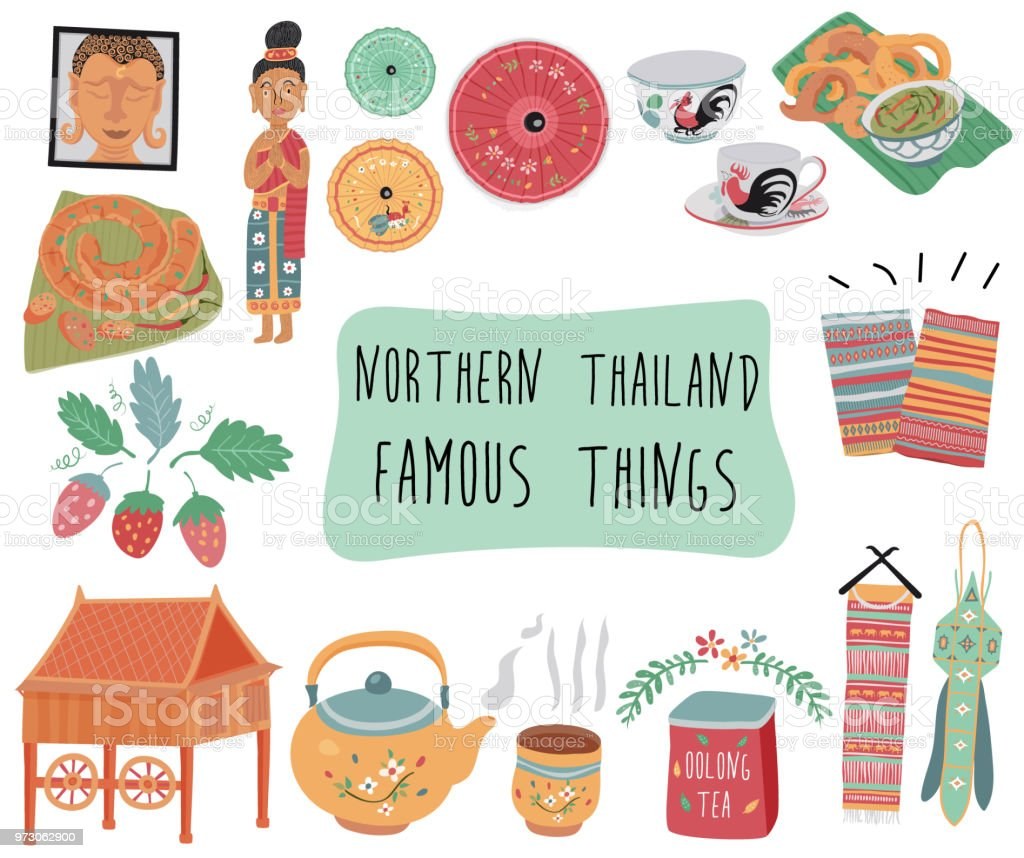 famous things in northern thailand vector art illustration