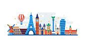 Famous travel and touristic landmarks. Vector flat illustration. World travel concept. Horizontal banner or poster design elements.