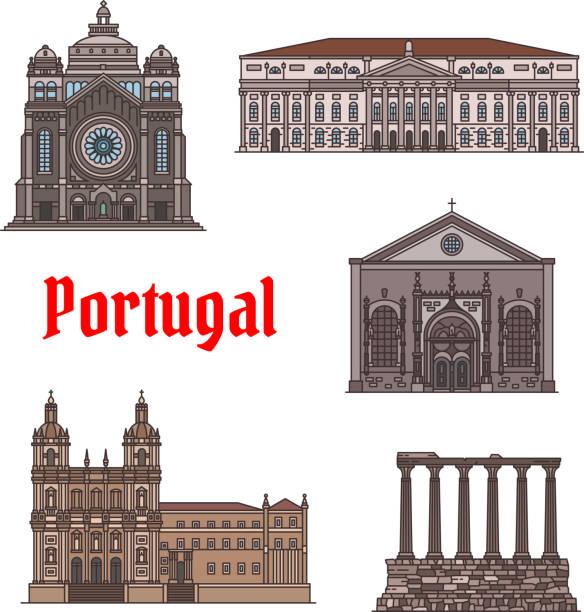 Famous travel landmark of Portugal icon set - ilustração de arte vetorial