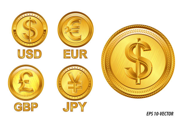 famous world currencies in golden coin concept. famous world currencies in golden coin concept. easy to modify japanese currency stock illustrations