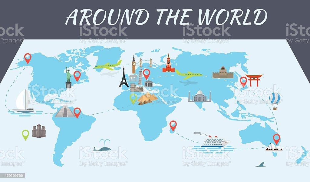 Monde monuments célèbres icônes sur la carte - Illustration vectorielle