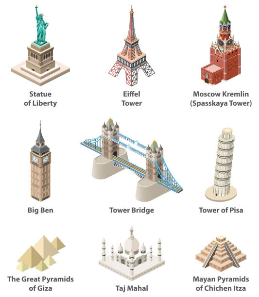 Famous world landmarks vector isometric high detailed icons isolated on white background Famous world landmarks vector isometric high detailed icons isolated on white background eiffel tower stock illustrations