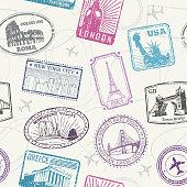 Famous world monuments, landmarks vector seamless pattern