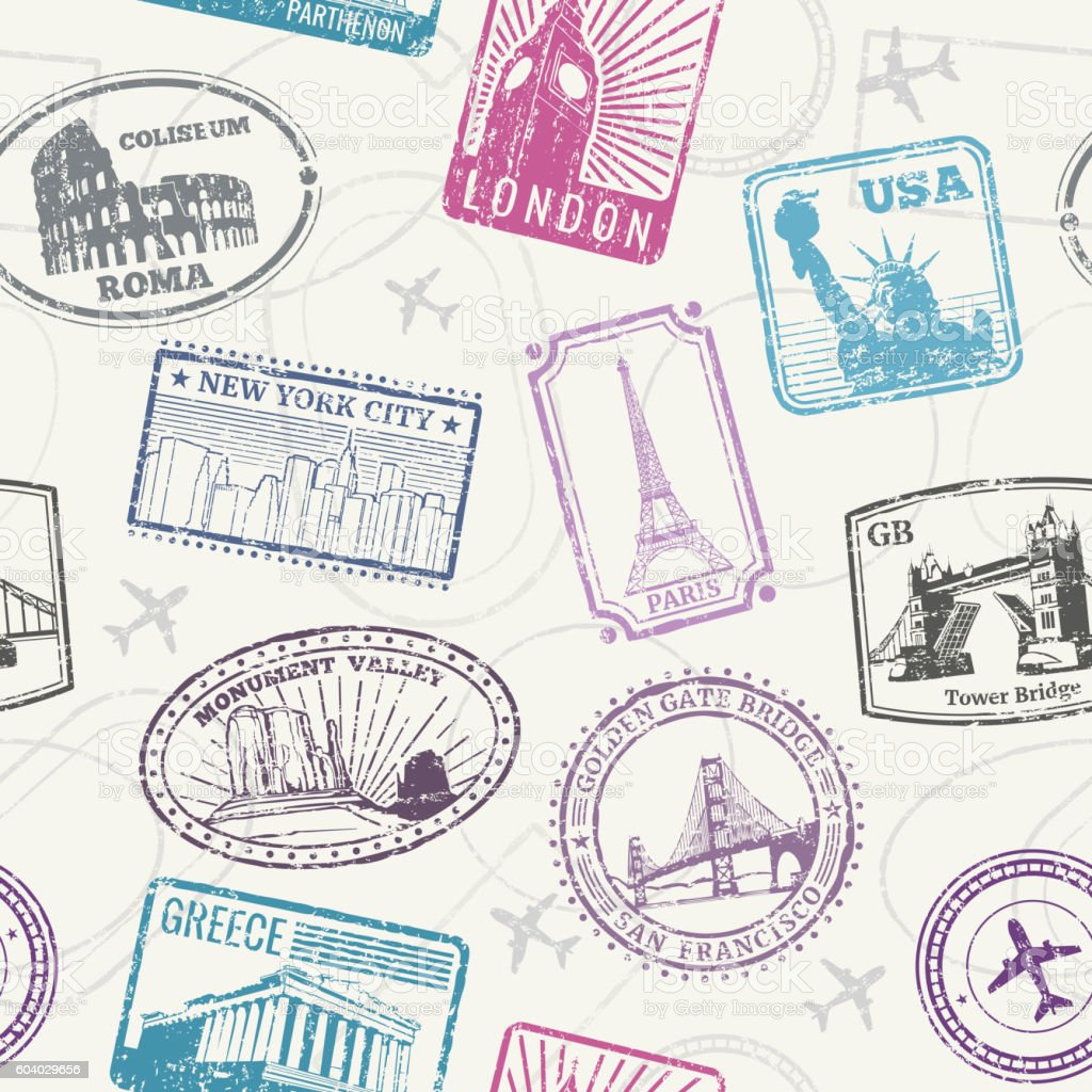 Famous world monuments and landmarks pattern - Illustration vectorielle
