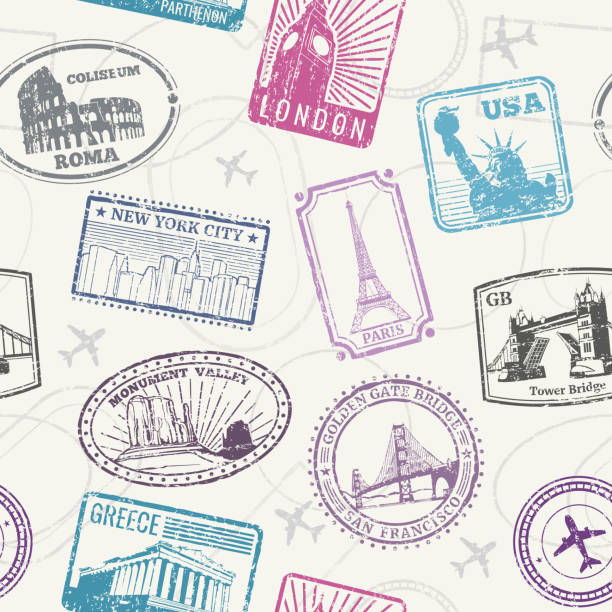 famous world monuments and landmarks pattern - europe travel stock illustrations, clip art, cartoons, & icons