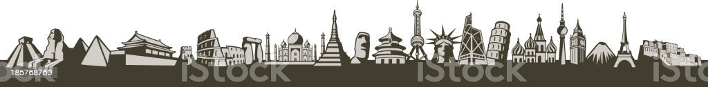 Famouse place. Landmark icons of the world vector art illustration
