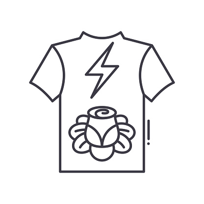 Fan club shirt icon, linear isolated illustration, thin line vector, web design sign, outline concept symbol with editable stroke on white background.