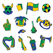 Fan Elements: Soccer, Football, Brazil  - hand drawn