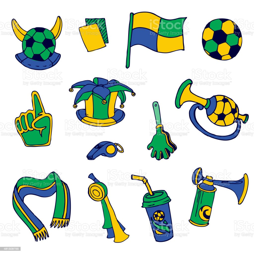 Fan Elements: Soccer, Football, Brazil  - hand drawn vector art illustration