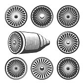 Fan engines. Vector airplane turbine icons and turbo fans illustration, enginering power propeller symbols
