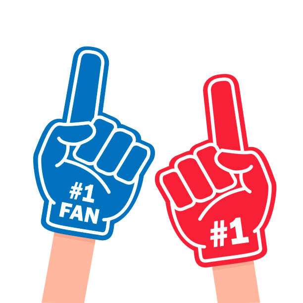 Fan foam finger Fan foam finger. Blue and red sports item for hand to show a support for a team on championship game. Vector flat style cartoon illustration isolated on white background single object stock illustrations