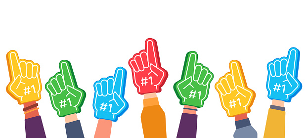 Fan foam fingers. Hands up with glove with number one, stadium supporter pride accessory, football victory symbol, success vector concept
