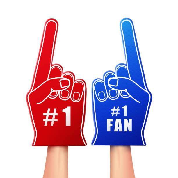 Fan foam gloves Vector illustration of fan foam gloves in red and blue color isolated on white background fan enthusiast stock illustrations