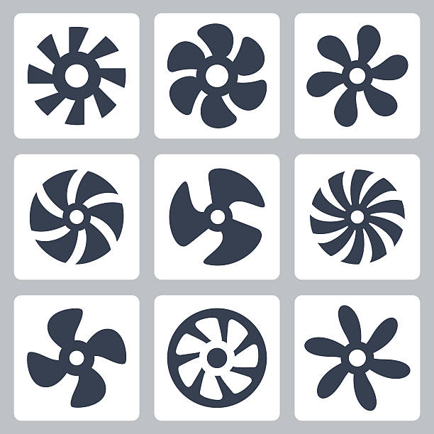 fan propellers vector icons set - pervane stock illustrations