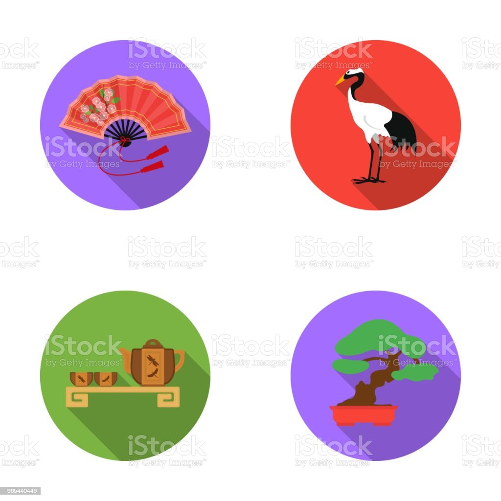 Fan, red crown crane, tea ceremony, bonsai.Japan set collection icons in flat style vector symbol stock illustration web. royalty-free fan red crown crane tea ceremony bonsaijapan set collection icons in flat style vector symbol stock illustration web stock vector art & more images of bonsai tree