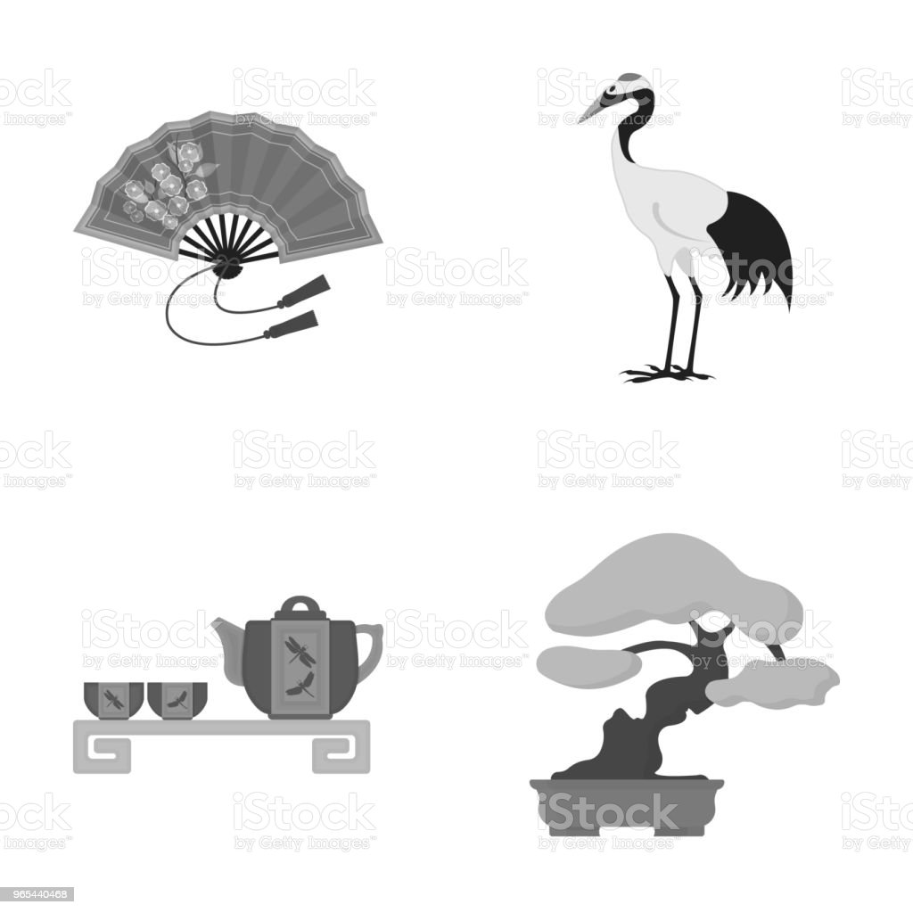 Fan, red crown crane, tea ceremony, bonsai.Japan set collection icons in monochrome style vector symbol stock illustration web. fan red crown crane tea ceremony bonsaijapan set collection icons in monochrome style vector symbol stock illustration web - stockowe grafiki wektorowe i więcej obrazów bez ludzi royalty-free