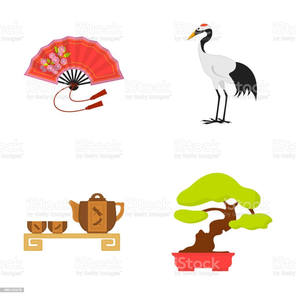 Fan, red crown crane, tea ceremony, bonsai.Japan set collection icons in cartoon style vector symbol stock illustration web. - Royalty-free Bonsai Tree stock vector