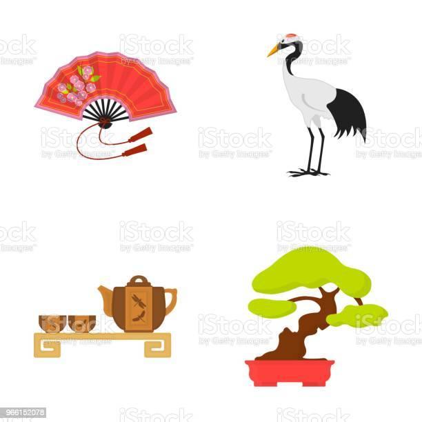 Ventilatore Gru A Corona Rossa Cerimonia Del Tè Bonsai Il Giappone Imposta Le Icone Della Raccolta Nel Web Di Illustrazione Stock Di Simboli Vettoriali In Stile Cartone Animato - Immagini vettoriali stock e altre immagini di Albero