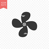 Fan rotor icon simple silhouette flat style vector illustration on transparent background.