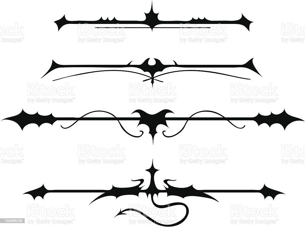 Fanciful Gothic Ornamentation II - 1 credit vector art illustration
