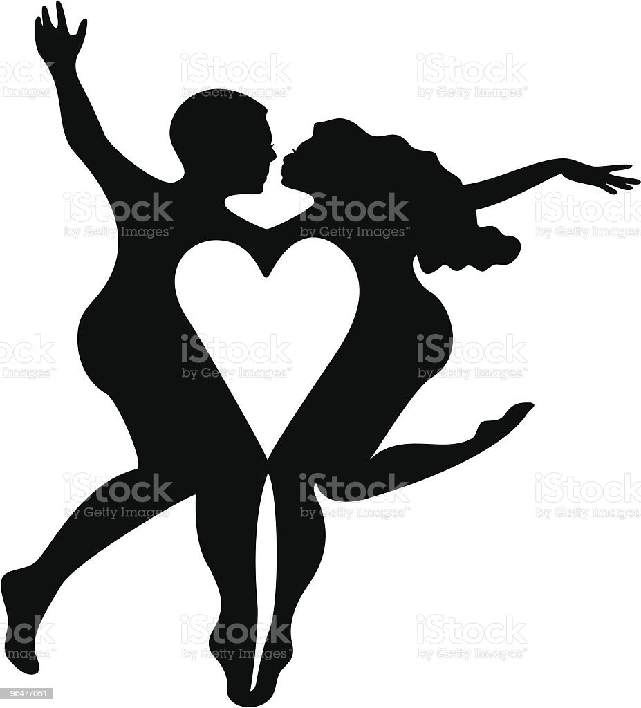 Fanciful Heart Couple Silhouette royalty-free fanciful heart couple silhouette stock vector art & more images of abandoned