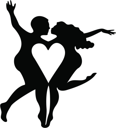 Fanciful Heart Couple Silhouette