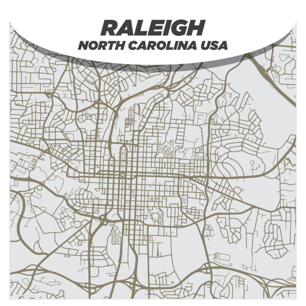 Fancy and Creative Flat City Street Map of Downtown Raleigh North Carolina vector art illustration