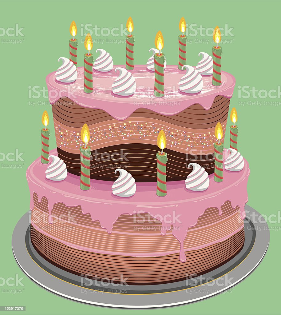 Pleasing Fancy Birthday Cake Stock Illustration Download Image Now Istock Funny Birthday Cards Online Elaedamsfinfo