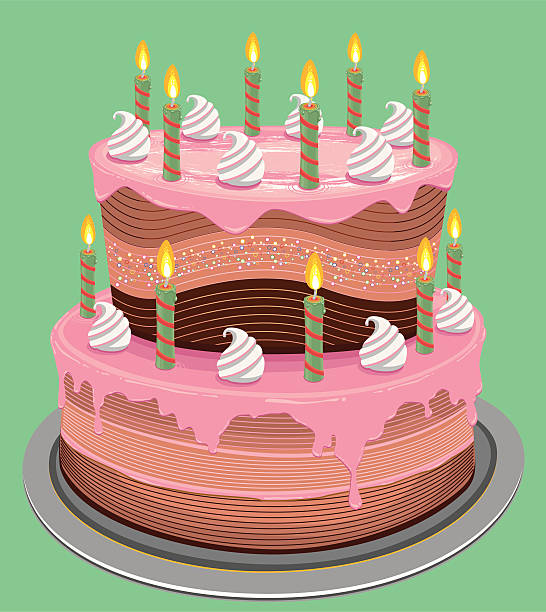 Fancy Birthday Cake Stock Vector Art More Images Of Baked Pastry